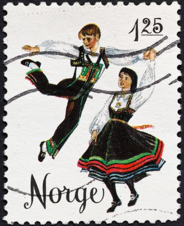 NORWAY - CIRCA 1976: A postage stamp printed in the Norway shows national norwegian folk dance gangar, circa 1976