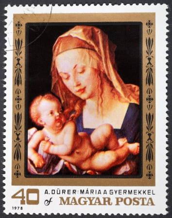 durer: HUNGARY - CIRCA 1978: A postage stamp printed in the Hungary shows painting Albrecht Durer of Virgin and child with a pear from kunsthistorisches museum Vienna, circa 1978 Editorial
