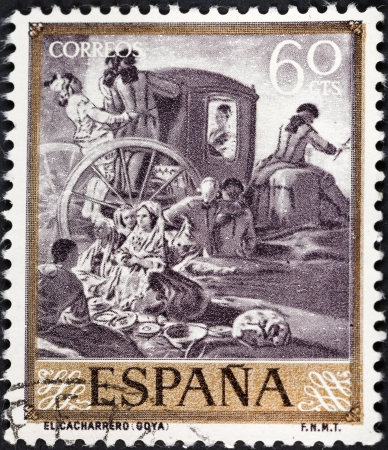 SPAIN - CIRCA 1958: A postage stamp printed in the Spain shows Goya painting The Pottery, circa 1958
