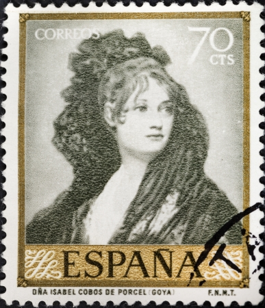 isabel: SPAIN - CIRCA 1958: A postage stamp printed in the Spain shows Goya Portrait of Isabel Porcel painting , circa 1958