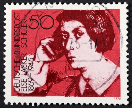 else: FEDERAL REPUBLIC OF GERMANY - CIRCA 1975: A postage stamp printed in the West Germany shows Else Lasker-Schuler (Jewish German poet and playwright), circa 1975 Editorial
