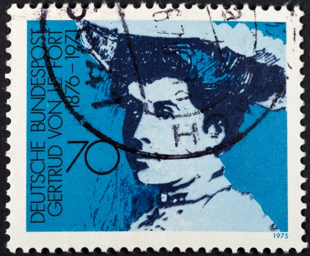 FEDERAL REPUBLIC OF GERMANY - CIRCA 1975: A postage stamp printed in the West Germany shows Baroness Gertrud von Le Fort German writer, circa 1975