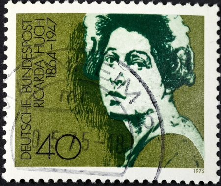 west of germany: FEDERAL REPUBLIC OF GERMANY - CIRCA 1975: A postage stamp printed in the West Germany shows Ricarda Huch German author, circa 1975