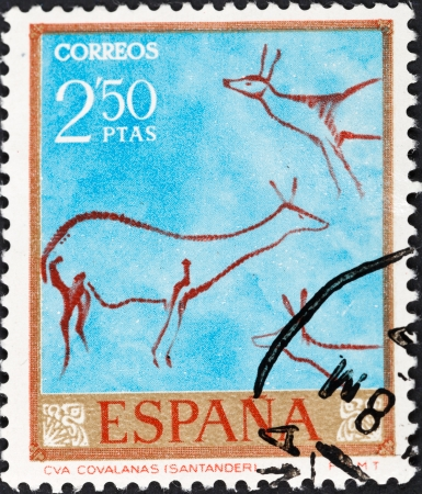 SPAIN - CIRCA 1967: A postage stamp printed in the Spain rock paintings in the Covalanas caves of Spain , circa 1967