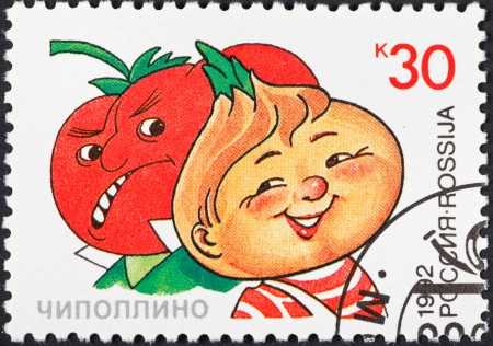 RUSSIA - CIRCA 1992: A postage stamp printed in the Russia shows character Chipollino of popular cartoons in USSR, circa 1992