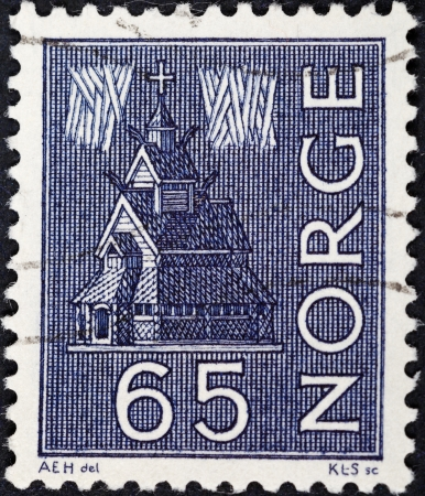 NORWAY - CIRCA 1963: A postage stamp printed in the Norway shows Stave Church and Northern Lights, circa 1963