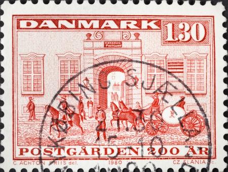 DENMARK - CIRCA 1980: A postage stamp printed in the Denmark shows Postoffice Kobmagergade in Copenhagen, circa 1980