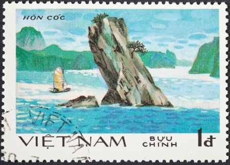 hon: SOCIALIST REPUBLIC OF VIETNAM - CIRCA 1984: A postage stamp printed in the Vietnam shows natural scenery of UNESCO World Heritage peak Hon Coc (Toad Island) at Ha Long bay, circa 1984