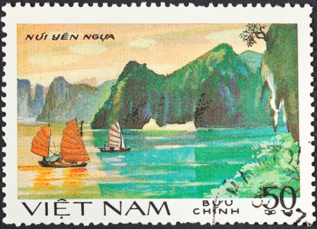 SOCIALIST REPUBLIC OF VIETNAM - CIRCA 1984: A postage stamp printed in the Vietnam shows natural scenery of UNESCO World Heritage mount Nui Yen Ngua at Ha Long bay, circa 1984
