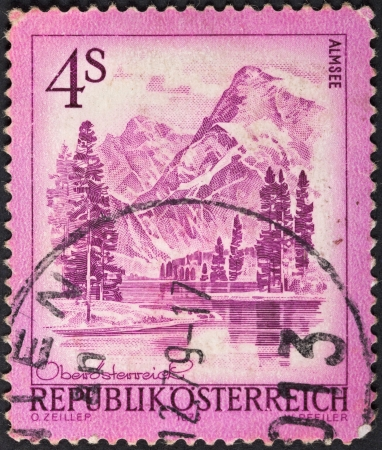 AUSTRIA - CIRCA 1973: A postage stamp printed in the Austria shows mountain lake Almsee, circa 1973 Stock Photo - 25386715