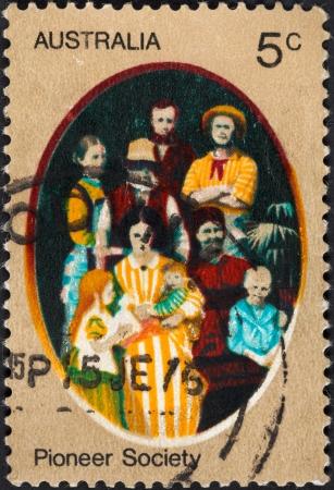 colonizer: AUSTRALIA - CIRCA 1972: A postage stamp printed in the Australia shows first pioneer family, circa 1972