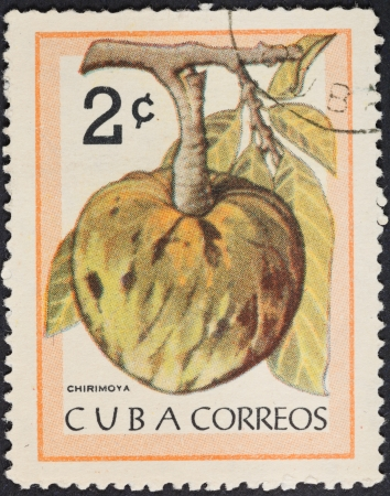 chirimoya: CUBA - CIRCA 1963: A postage stamp printed in the Cuba shows tropical fruit - cherimoya, circa 1963