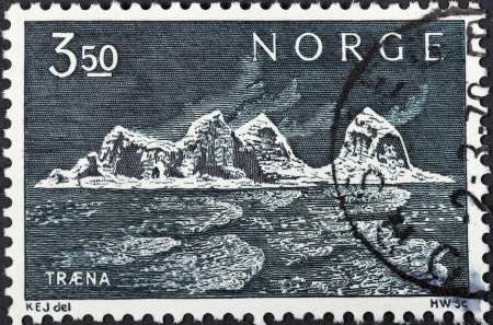 NORWAY - CIRCA 1969: A postage stamp printed in the Norway shows Traena Islands, circa 1969