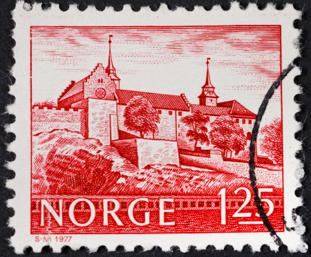 NORWAY - CIRCA 1977: A postage stamp printed in the Norway shows Akershus Fortress in Oslo, circa 1977