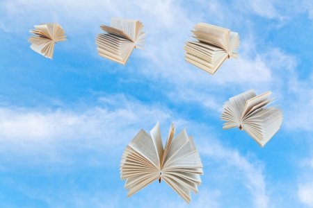 double page spread: few book fly in blue sky with white clouds