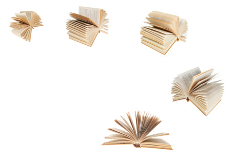 double page spread: set from fanned old book isolated on white background