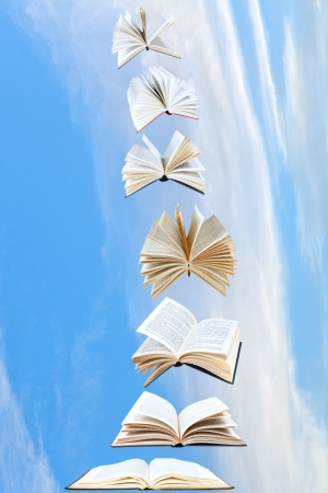 double page spread: stack of books fly in blue sky with white cloud