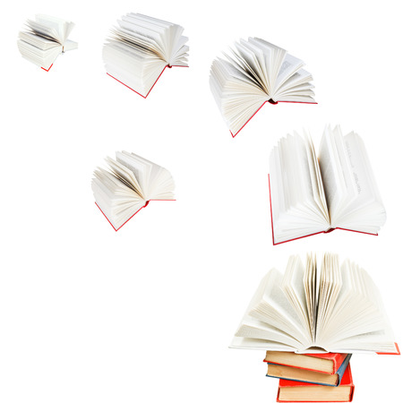 double page spread: open books fly out of pile of books isolated on white background