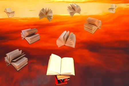 open book above of stack of books and red sunset sky with flying books background photo