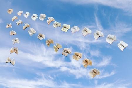 illusory: bandada de libros de vuelo con un cielo azul con nubes cirros de fondo