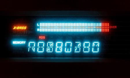 diapason: scale of sound volume on illuminated indicator board of radio receiver close up Stock Photo