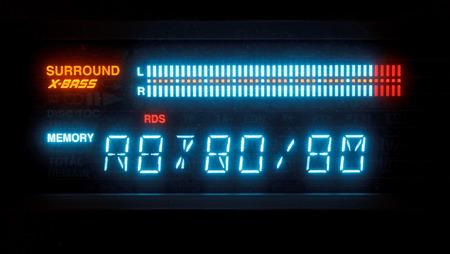 diapason: blue illuminated indicator board of radio receiver close up