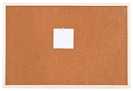 one small sheet of paper on bulletin cork board isolated on white background photo