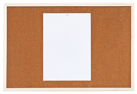 one sheet of paper on bulletin cork board isolated on white background photo