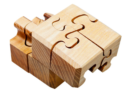 three dimensional wooden mechanical puzzle close up Stock Photo