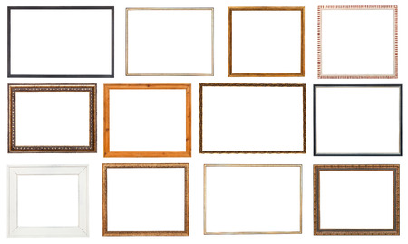 set wooden picture frame with cut out canvas isolated on white background Фото со стока