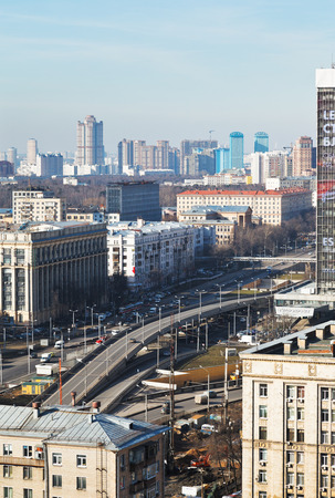 MOSCOW, RUSSIA - FEBRUARY 25, 2014: above view Volokolamskaya overpass - new transport interchange on Leningradsky Avenue in Moscow. The overpass length of 390 meters was ended in 2011.