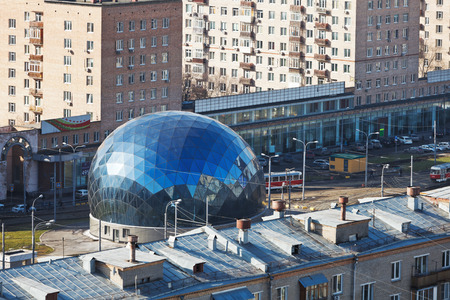 MOSCOW, RUSSIA - FEBRUARY 25, 2014: glass Central control point in Sokol district of three new road tunnels: Volokolamsky and Leningradsky and Alabyano-Baltic tunnels, will be ended in 2014