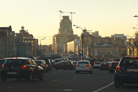 MOSCOW, RUSSIA - MARCH 1, 2014: traffic jam on Suharevskaya overpass of Garden Ring street in spring evening.