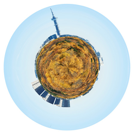 little planet - spherical planet with yellow autumn forest and urban houses and TV tower isolated on white background