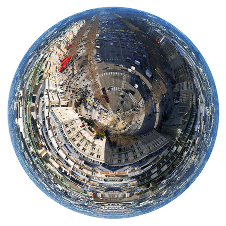 champs elysees: little planet - urban spherical view of Avenues des Champs Elysees in Paris, France isolated on white background Stock Photo