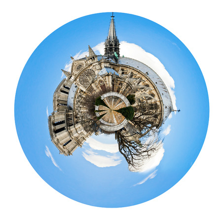 little planet - urban spherical view of cathedral Notre Dame de Paris isolated on white background