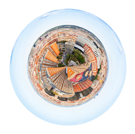 little planet - urban spherical panorama of residential district in Barcelona, Spain isolated on white background photo