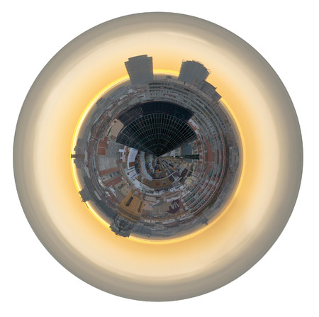 little planet - spherical panorama of Skyscrapers and residential district in Barcelona, Spain isolated on white background photo