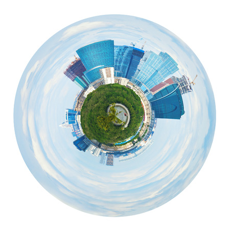 little planet - spherical panorama of Moscow city towers in spring isolated on white background photo
