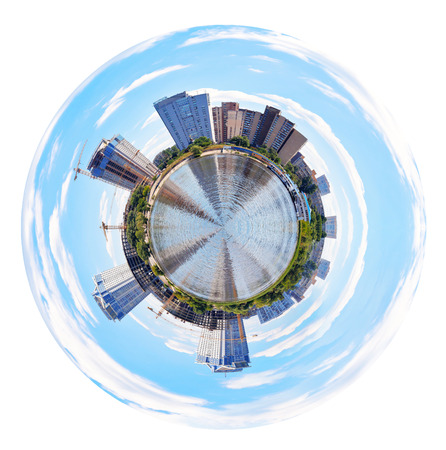 little planet - spherical panoramic view of new apartment houses building in Kiev, Ukraine isolated on white background photo