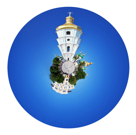 little planet - spherical panoramic view of bell tower and Saint Sophia Cathedral and Sophia square in Kiev, Ukraine isolated on white background photo