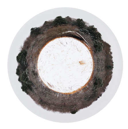 outer clothing: little planet - spherical view of edge of snowed forest with wooden house in cold winter day isolated on white background Stock Photo