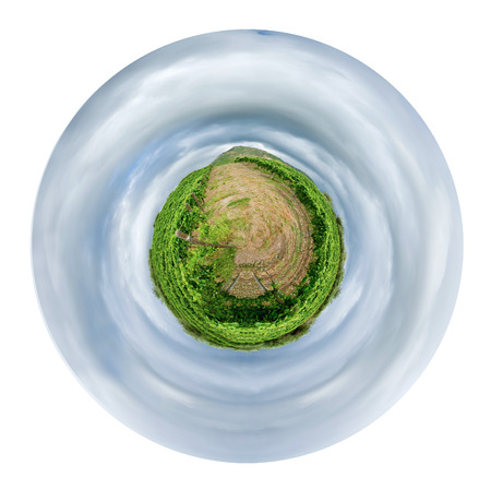 little planet - spherical view of vineyard under grey clouds in wine region Etna, Sicily isolated on white background photo