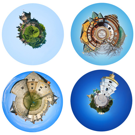 set of spherical view of styled european castles photo
