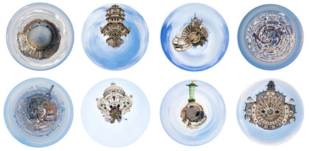 set of spherical views of Paris city and landmarks, France photo