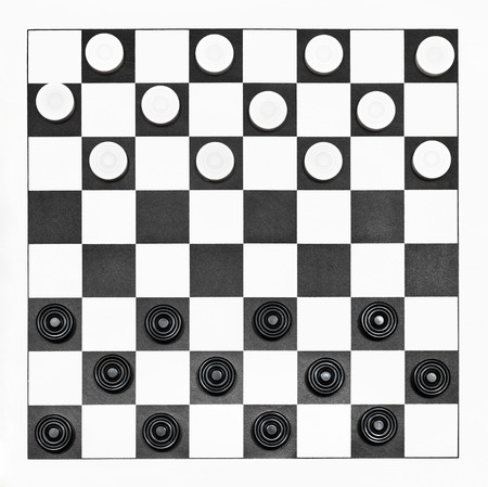 top view of starting position on 8x8 vinyl checkers board photo