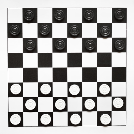 top view of starting position on 8x8 vinyl draughts board photo