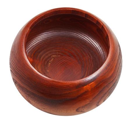 empty Wild Chinese Jujube Date Wood bowl isolated on white  photo