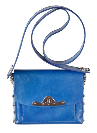 pochette: small flat blue leather ladies bag isolated on white