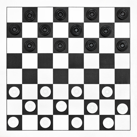 Starting position on 8x8 draughts board photo